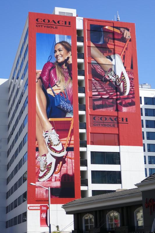 Giant Jennifer Lopez Coach CitySole sneakers billboard