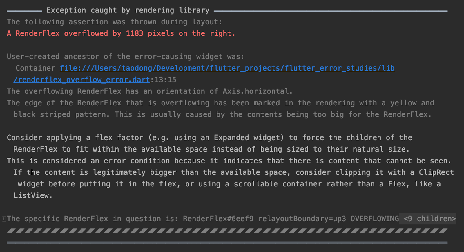 Flutter error message