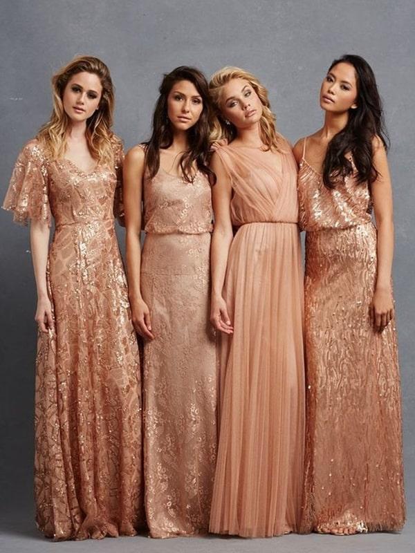 vestido rose gold com brilho para madrinha de casamento