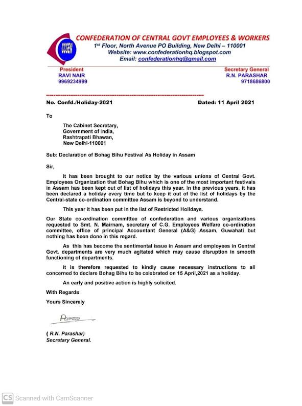 Declaration of Bohag Bihu Festival As Holiday in Assam - Confederation