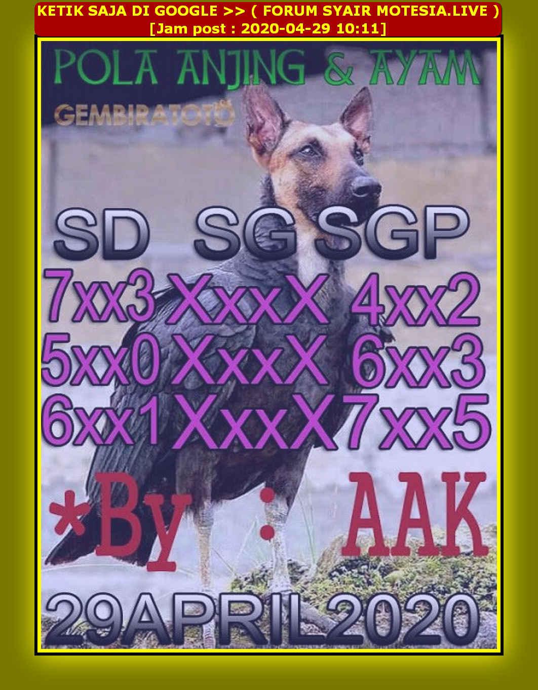 Kode syair Sydney Rabu 29 April 2020 47