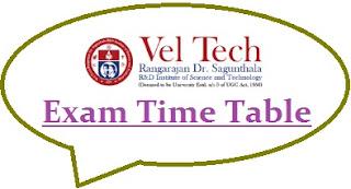 Veltech University Exam Date Sheet 2020