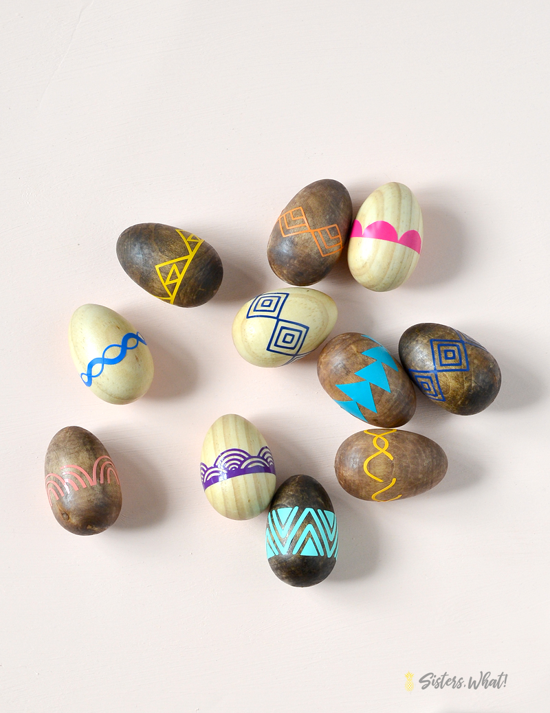 wooden easter eggs decorated