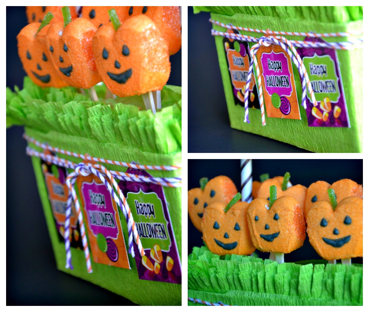 DIY Halloween Candy Displays with Pumpkin Peeps - via BirdsParty.com