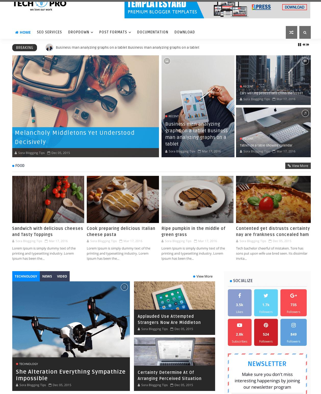techpro free blogger theme