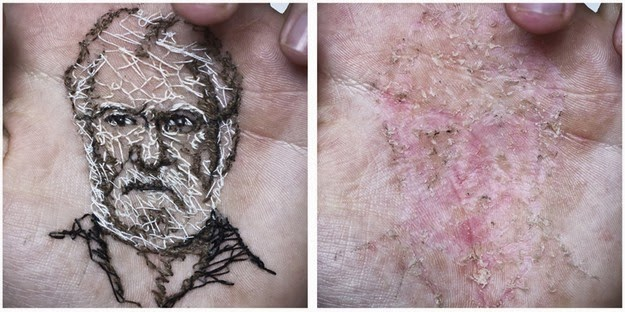 portraits created by stitching into body