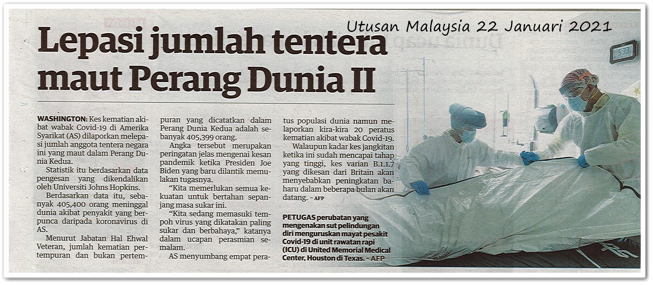 Lepasi jumlah tentera maut Perang Dunia II - Keratan akhbar Utusan Malaysia 22 Januari 2021