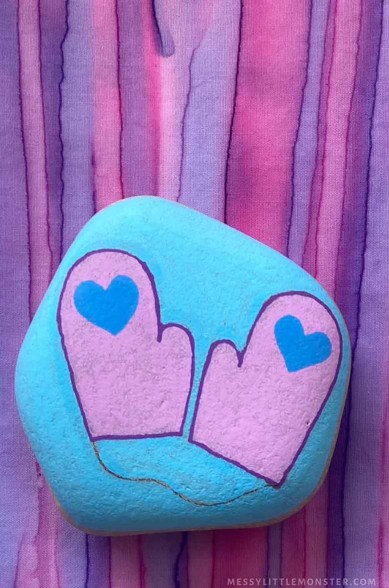 Winter rock painting - mittens craft