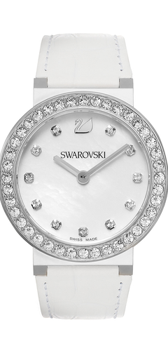 Swarovski Women's Swiss Citra Sphere White Calfskin Leather Strap 38mm