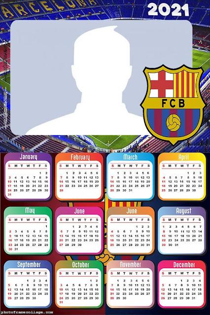 Barcelona Soccer Team: Free Printable 2021 Calendar.
