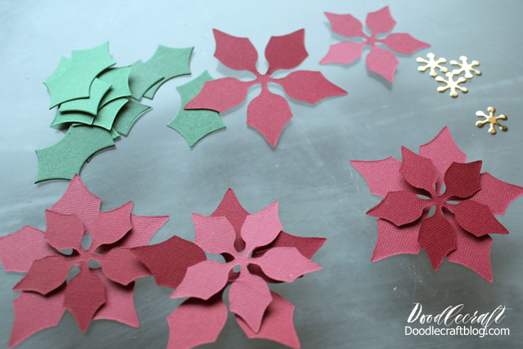 Doodlecraft diy paper poinsettia driftwood wreath stack the board paper die top board etc and roll it through the machine cut each shape in 2 color shades for variation cut enough to make about 15 mightylinksfo