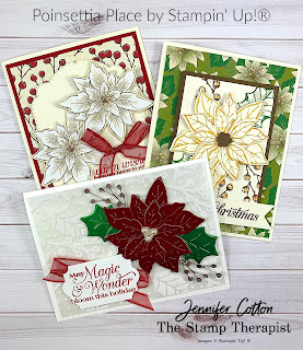 Three cards with Poinsettia Petals Bundle by Stampin' Up!®.  I showed all three on my Facebook Live 10-22-20.  Click the picture to go to the blog!  #StampTherapist #StampinUp