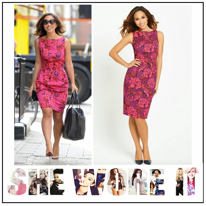 Black, Blue, Celebrity Fashion, Coral, Dress, Floral Print, Jacquard, Myleene Klass, Myleene Klass For Littlewoods, Oversized Print, Pencil Dress, Pleat Detail, Purple, Sleeveless, Tailored, Waist Detail,