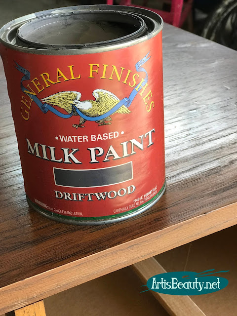 General finishes driftwood milk paint on classic campaign dresser