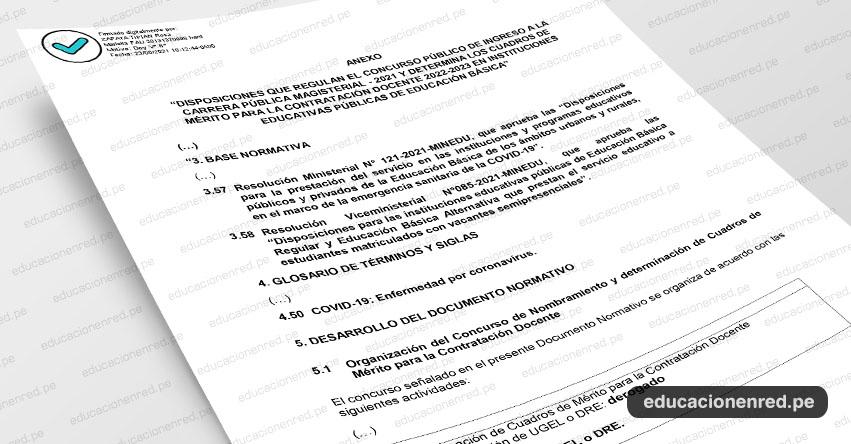 MINEDU publicó Anexos que Modifican la Directiva del Concurso Público de Nombramiento Docente 2021 y que Determina los Cuadros de Mérito para la Contratación Docente 2022-2023 (R. VM. N° 194-2021-MINEDU)
