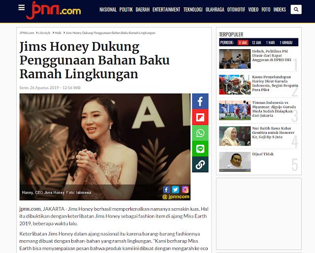 Jims Honey Dukung Penggunaan Bahan Baku Ramah Lingkungan