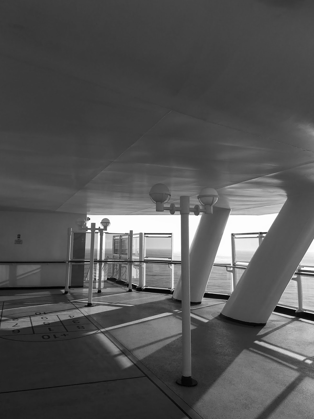 A black and white capture from under the Captain's Bridge on the Sapphire Princess.