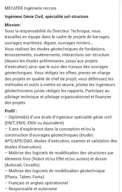 MECATER Ingénierie recrute Ingénieur Génie Civil Mars 2017