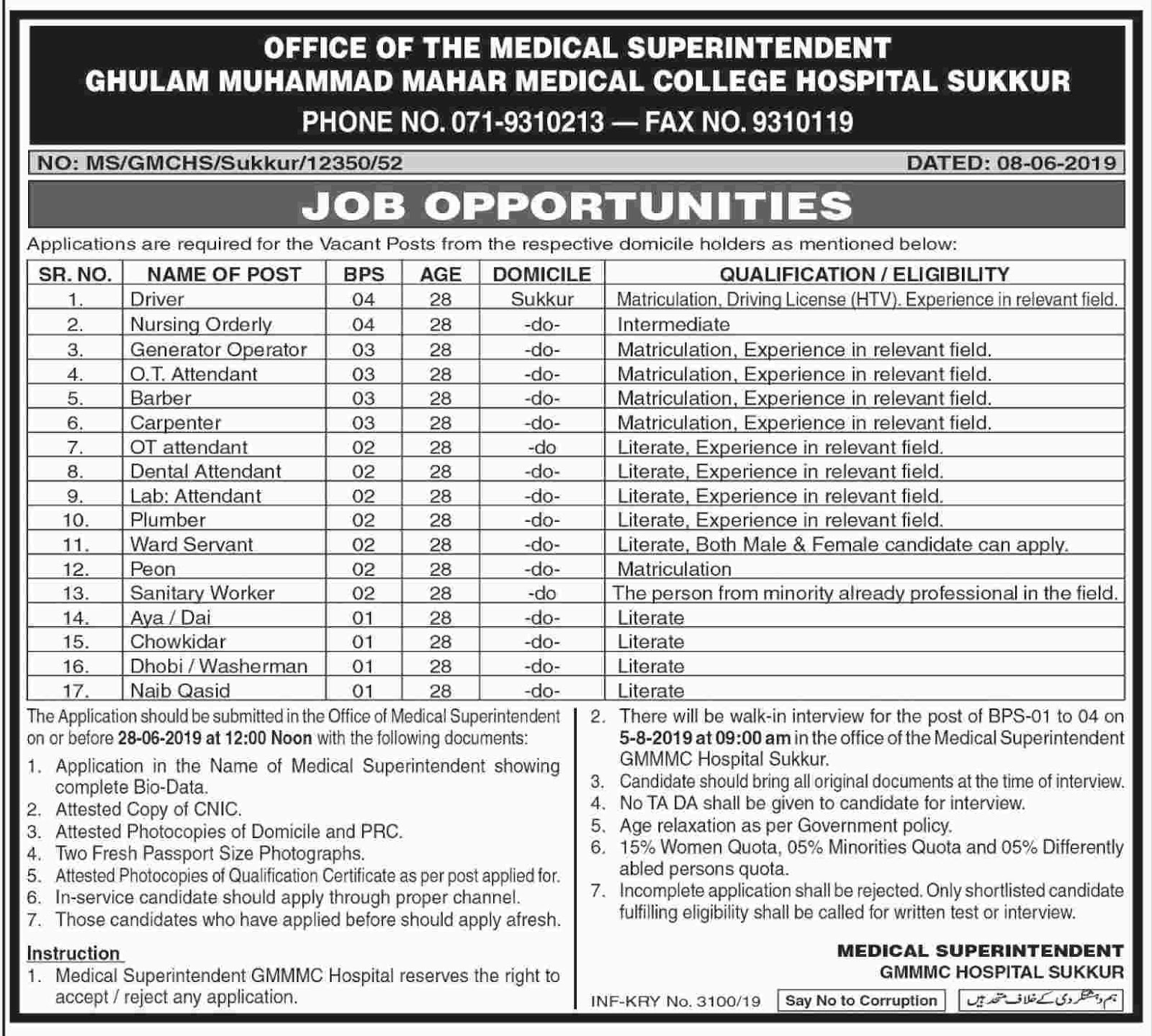 Jobs in  sukkur june 2019