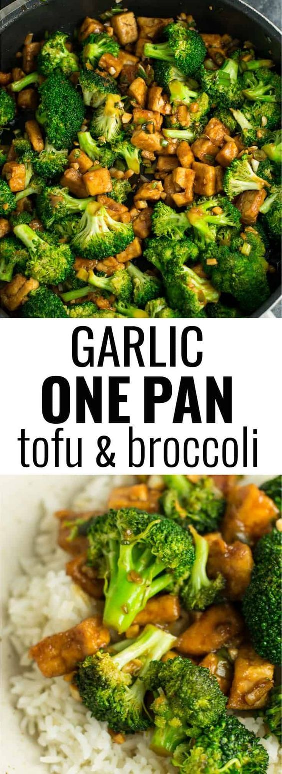 Broccoli tofu stir fry recipe made in just one pan. A healthy alternative to takeout in a rich garlicky sauce with fresh broccoli