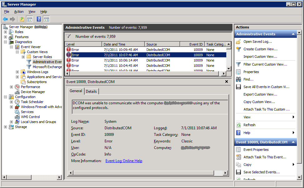 Fix for DCOM 10009 Errors in Exchange 2010 SP1 | The EXPTA {blog}
