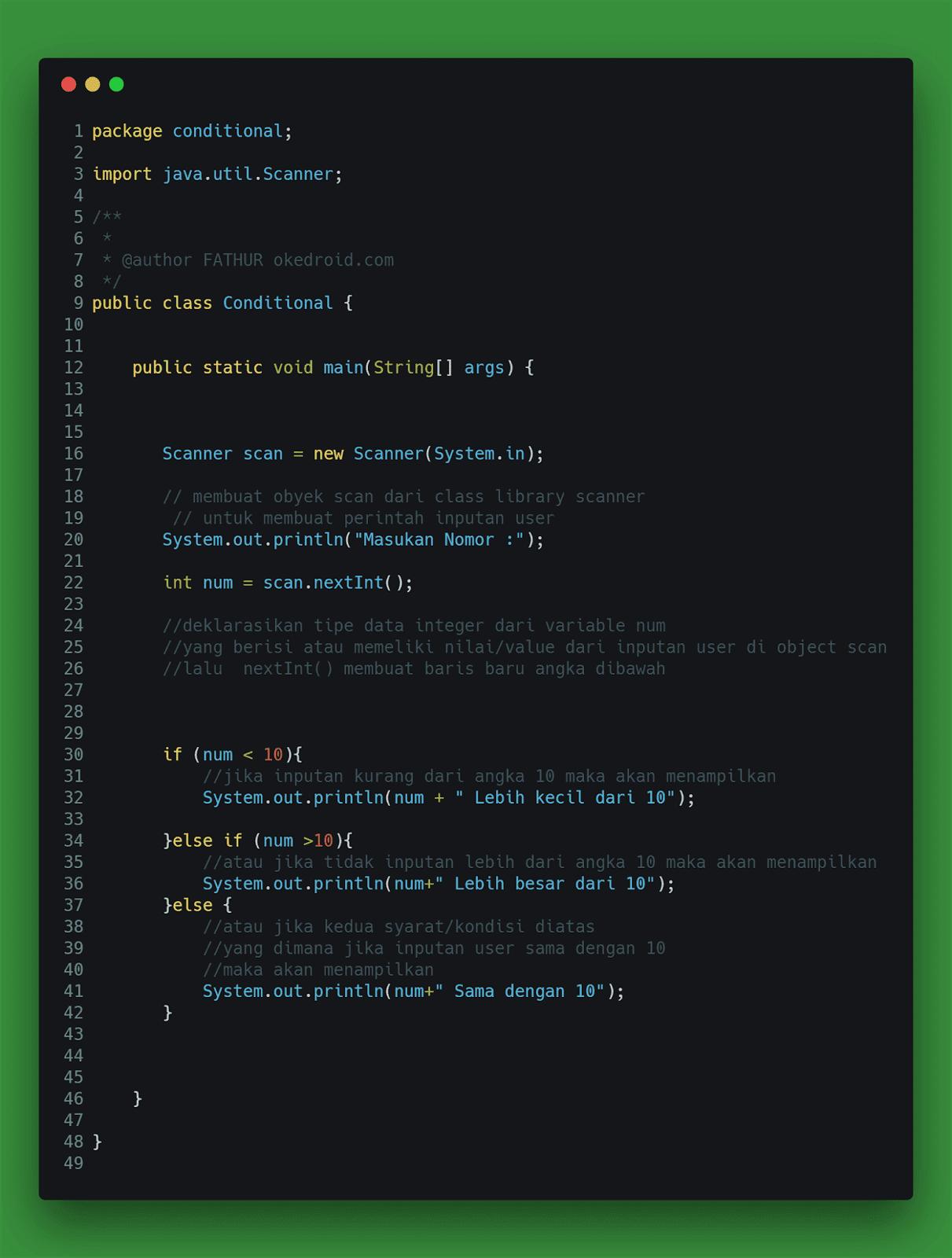 Contoh code program penggunaan kondisi if else if dan else java