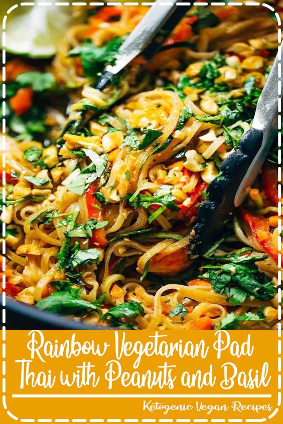 s adaptable to whatever veggies or protein you have on hand Rainbow Vegetarian Pad Thai with Peanuts and Basil
