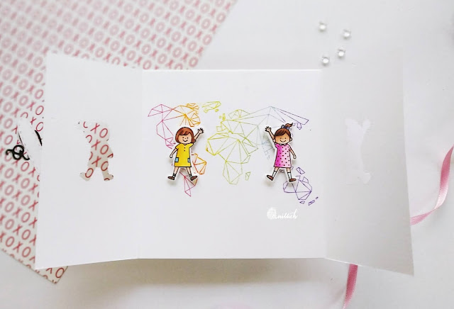 Waffle flower hello stamp, neat and tangled Origami map, Gate fold card with a surprise, Die cut pop up card, Clean and simple card, affle flower kids stamp card, Quillish, Papercrafters Unite against racism, Justine Hovey