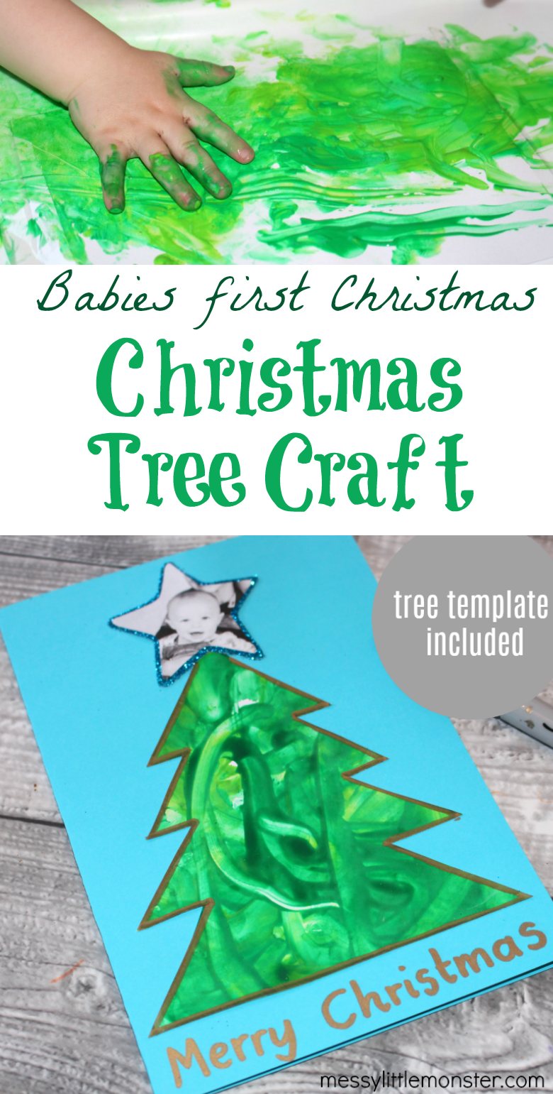 Christmas tree craft for babies first Christmas. Easy Christmas craft for babies with Christmas tree template