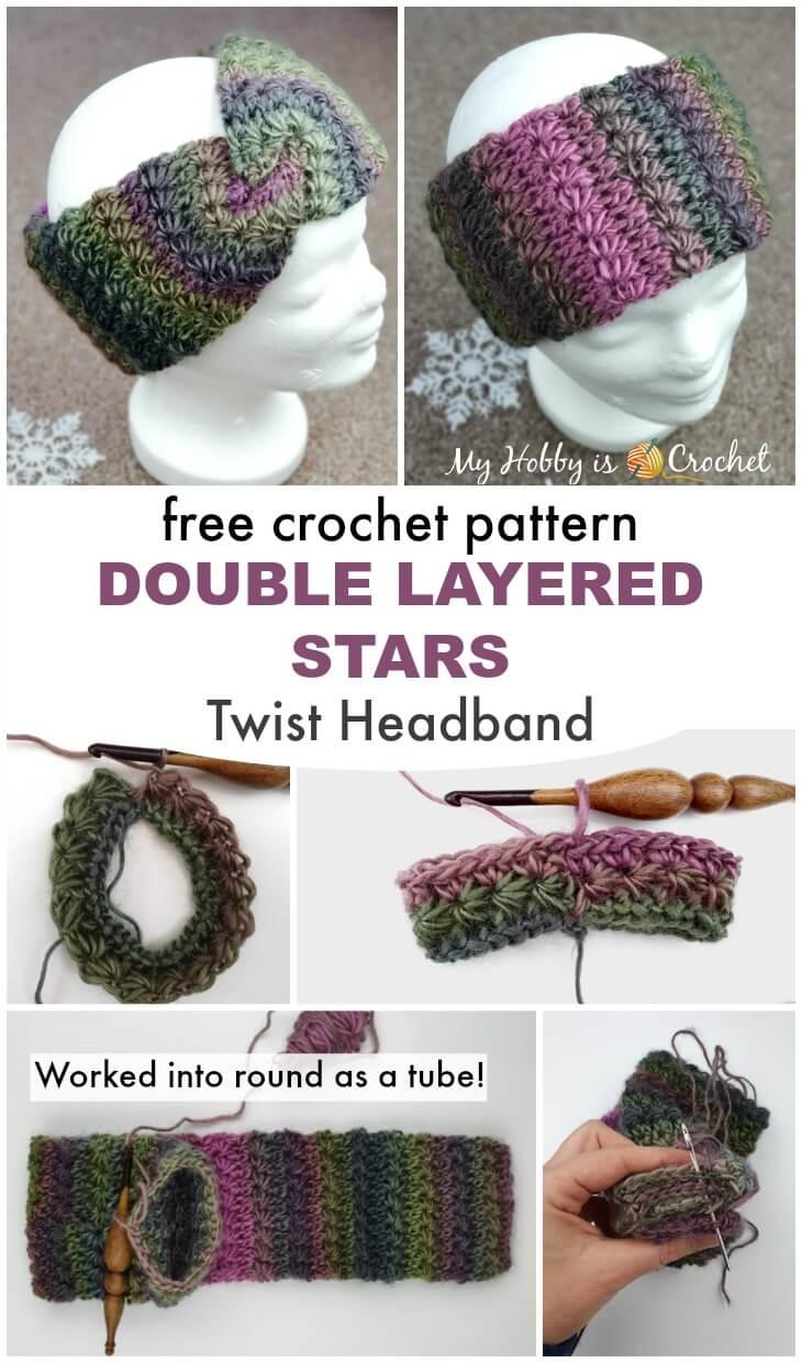 Double layered Stars Twist Headband