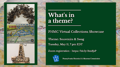 "Event graphic with photos of three museum objects. Text reads ""What's in a theme? PHMC Virtual Collections Showcase"""