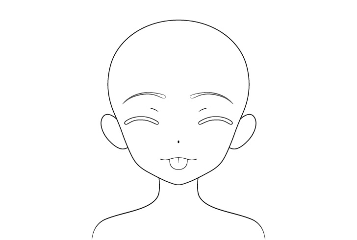 Gadis anime lidah keluar menggoda gambar detail wajah