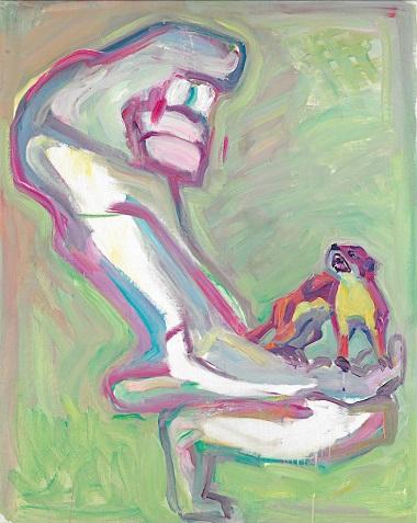 by Maria Lassnig - Spirito della montagna con donnola - 1996