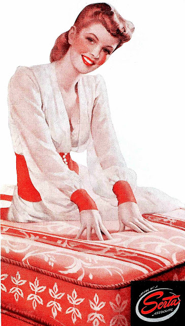 a 1943 mattress ad illustration in red