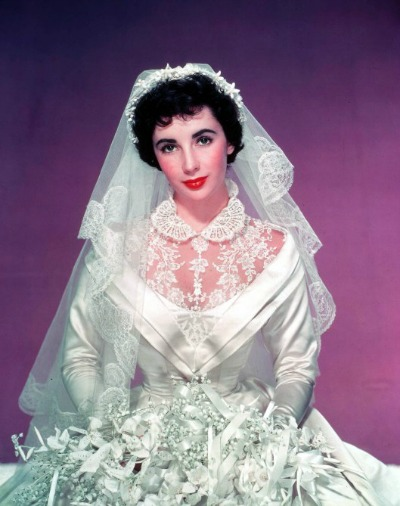 "Elizabeth Taylor in Helen Rose Designed Wedding Gown for 1950's ""Father of the Bride"""