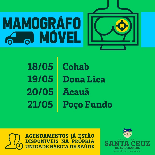 Santa Cruz terá atendimentos com Mamógrafo Móvel na próxima semana