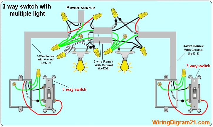 3%2Bway%2Bswitch%2Bwiring%2Bdiagram%2Bwith%2Bmultiple%2Blight%2B%2Bpower%2Bfeed%2Bvia%2Blight%2BT 3 way switch wiring diagram house electrical wiring diagram how to wire a 3 way switch wiring diagram at bakdesigns.co