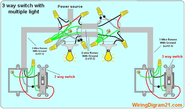 3 way switch wiring diagram | house electrical wiring diagram 3 wire power from 1 switch to 2 lights diagram from light to switch to schematic wiring diagram lights