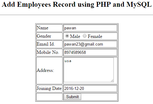 Print All Record  From Database in PHP