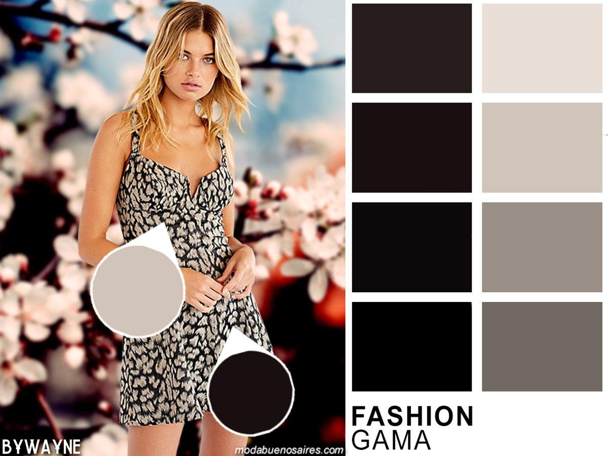 Moda colores primavera verano 2020. Escala de grises entre los colores acromáticos de moda de la primavera verano 2020.