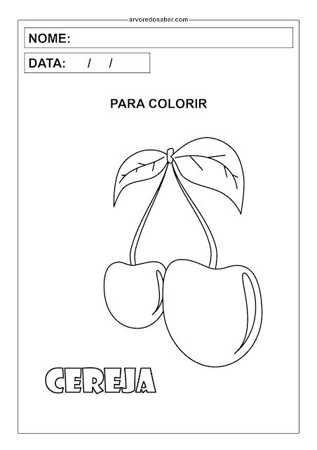 cereja para colorir