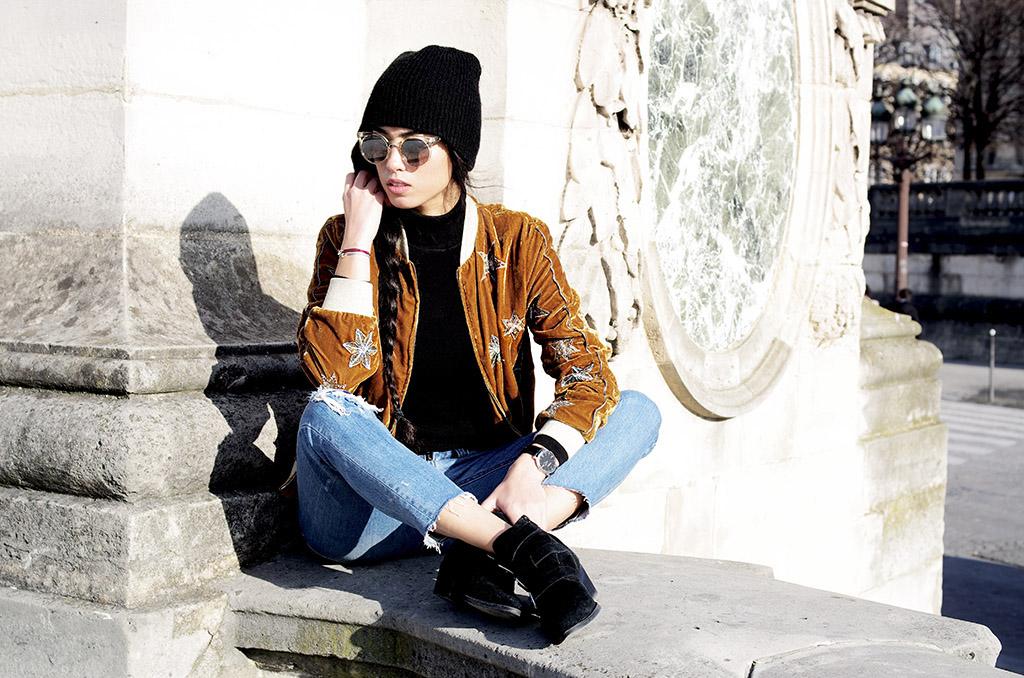 Elizabeth l Reach for the stars outfit l Velvet bomber jacket jeans l Asos Zara Quay Australia l THEDEETSONE l http://thedeetsone.blogspot.fr