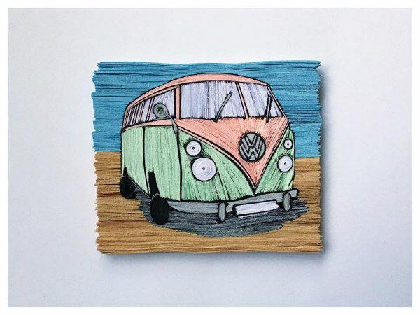 quilled retro Volkswagen bus