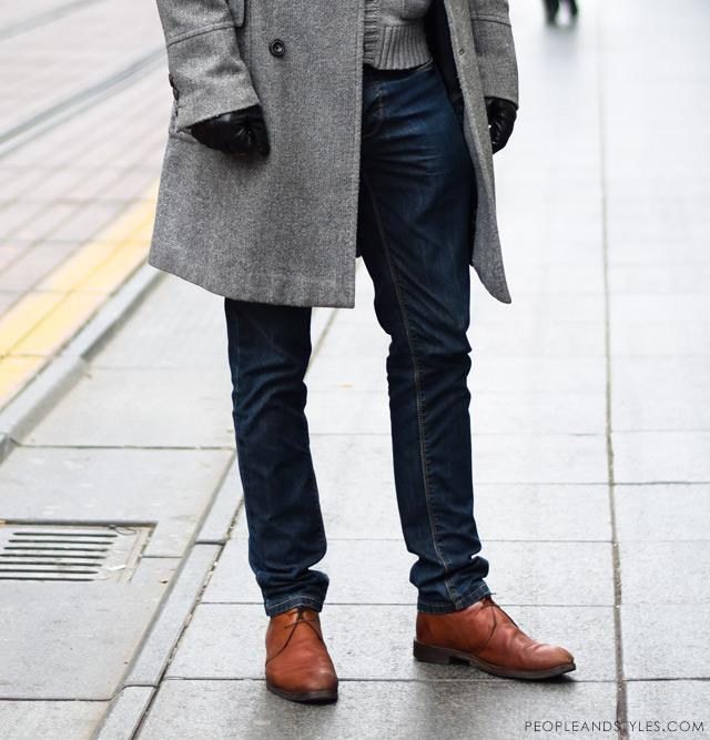 urban casual winter fashion men 2014, Man\u0027s winter cool outfit grey coat,  grey