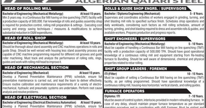 Algerian Qatari Steel company jobs - Free Recruitment