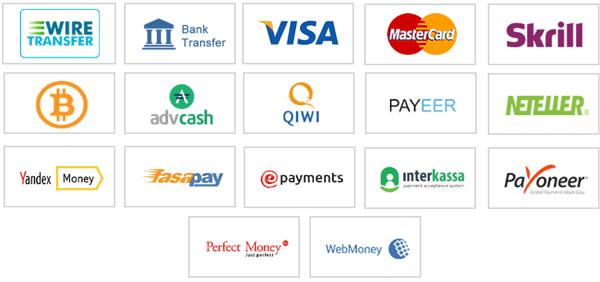 Доступные платежные системы на CliqFX