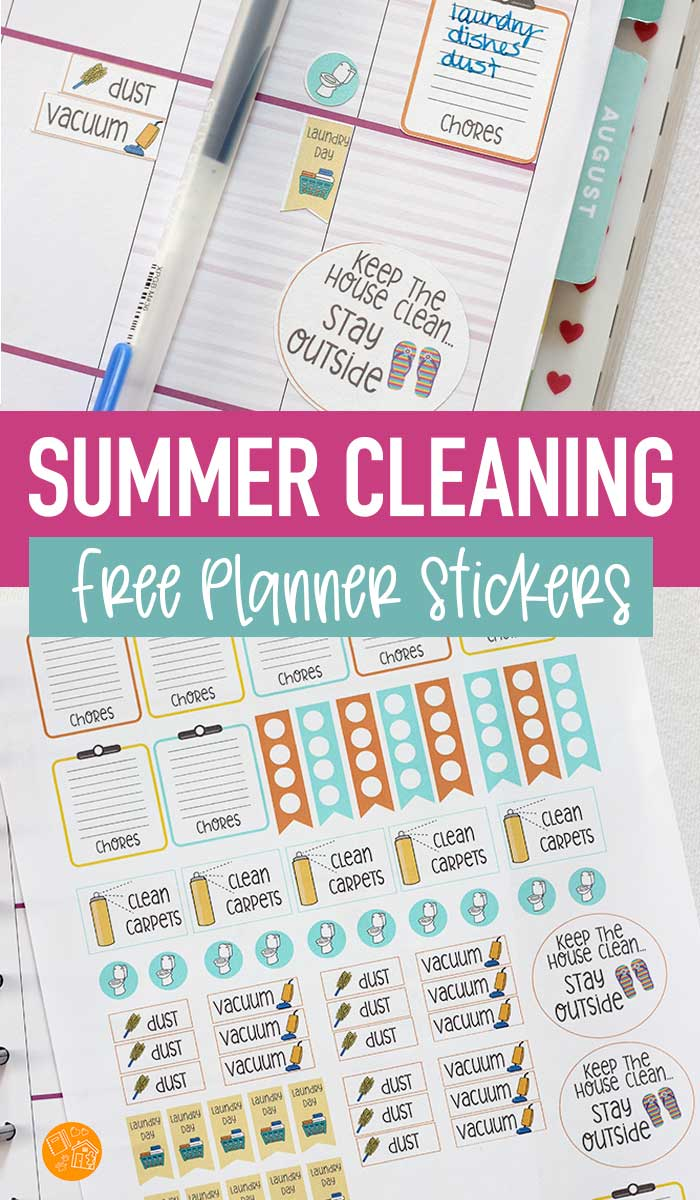 Get ready for summer cleaning with cute FREE printable planner stickers! These planner stickers will help you keep track of chores and summer house cleaning projects. It's a super easy way to get in a summer cleaning routine! #ad #plannerstickers #planner #instantdownload