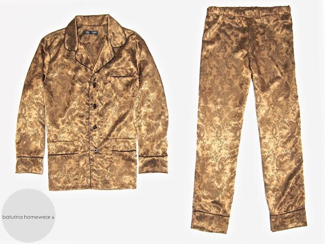 Mens gold paisley silk pajamas set classic luxury pyjamas for men