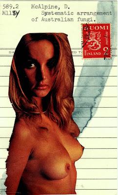 postage stamp vintage nude library card Dada Fluxus mail art collage