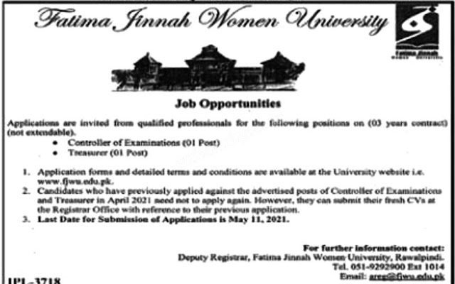 New Jobs Rwp Fatima Jinnah Women University 2021